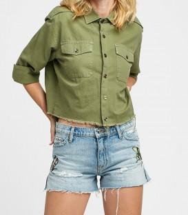 SADE cut off short jeans brodé HUDSON JEANS