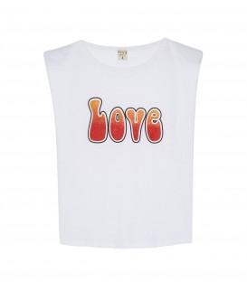 T-SHIRT LOVE BLANC ROUGE FIVE JEANS