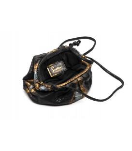 BABY UNIQ sac cuir python black metalic SISTA PARIS