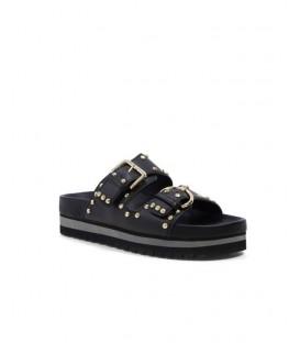 GALIA sandales black studs silver BIBI LOU